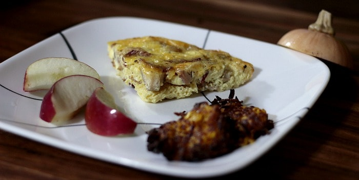 Bacon, Egg, Apple & Cheese Frittata with Butternut Squash Hash browns