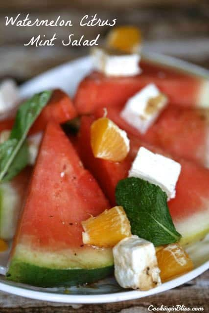 Watermelon Citrus Mint Salad Recipe - Cooking in Bliss