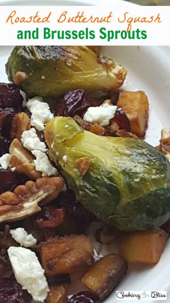 This Roasted Brussels Sprouts and Butternut Squash with Cranberries Recipe is a great side dish for your holiday meals