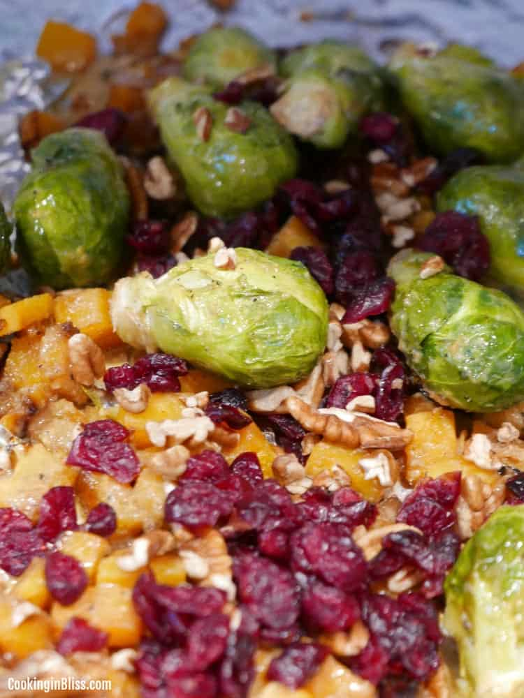 Roasted brussels sprouts and butternut squash with pecans and cranberries recipe